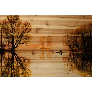 'Glass Lake' by Parvez Taj Painting Print on Natural Pine Wood by Parvez Taj
