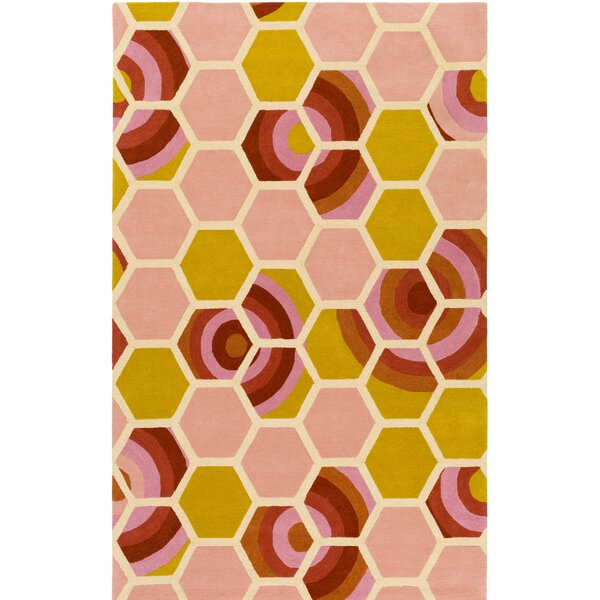 Kismet Honeycomb Hand-Tufted Coral/Yellow Area Rug by emma at home by Emma Gardner