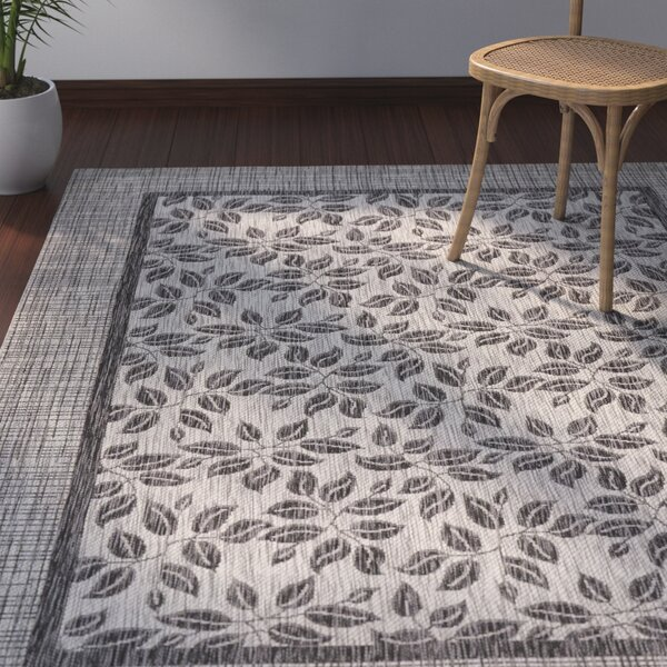 Key Haven Ivory/Charcoal Indoor/Outdoor Area Rug by Bay Isle Home