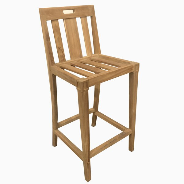Kasota Classic Natural 30 Teak Patio Bar Stool by Red Barrel Studio