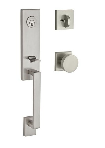 Seattle Single Cylinder Handleset with Contemporary Door Knob and Contemporary Square Rose by Baldwin