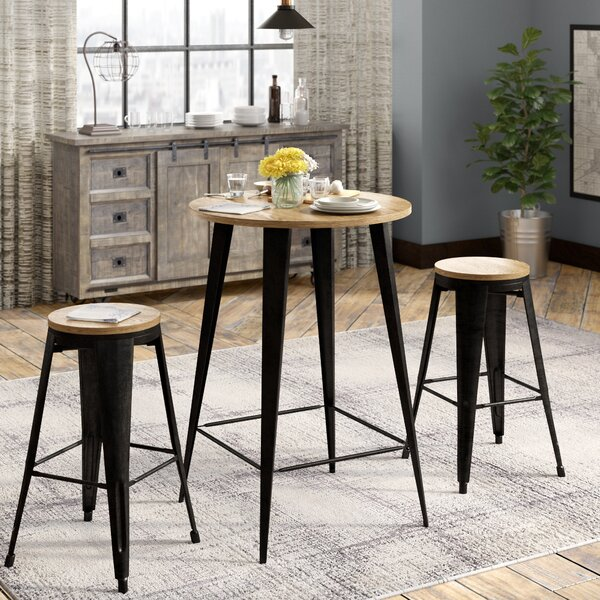 Nickolas 3 Piece Solid Wood Dining Set By Williston Forge