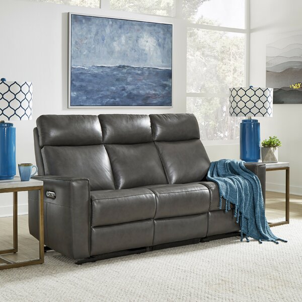 A Wide Selection Of Pell Leather Reclining Sofa by Latitude Run by Latitude Run