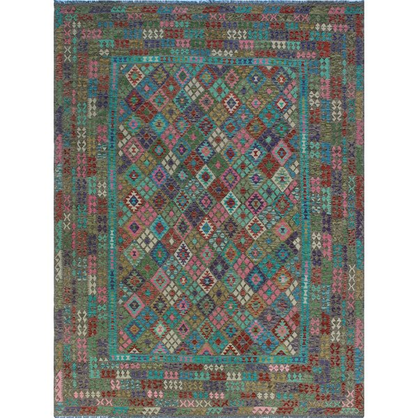 One-of-a-Kind Renita Kilim Hand-woven Wool Blue/Gray Area Rug by Isabelline