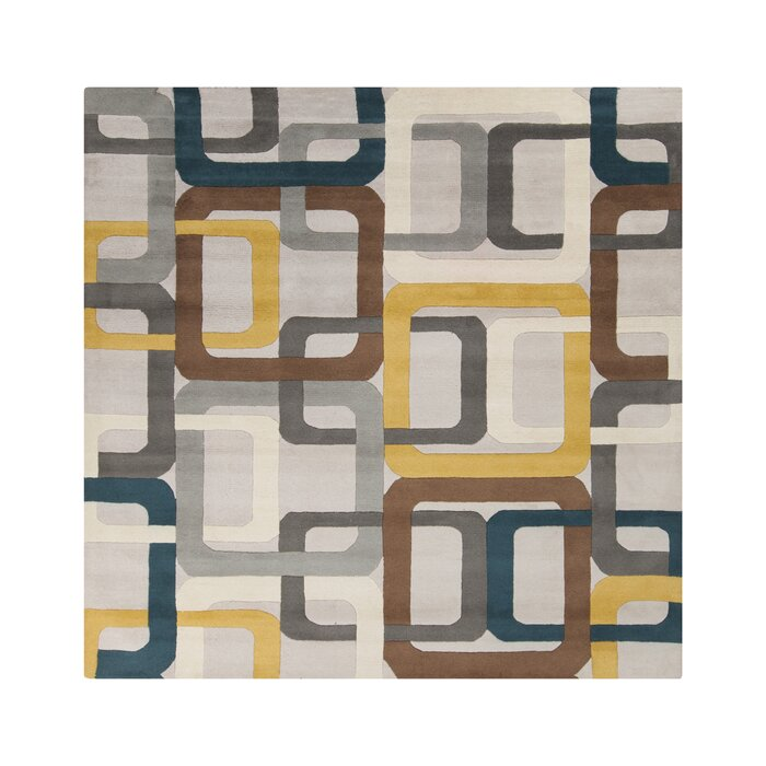 Dewald Hand Tufted Wool Gray Brown Yellow Area Rug