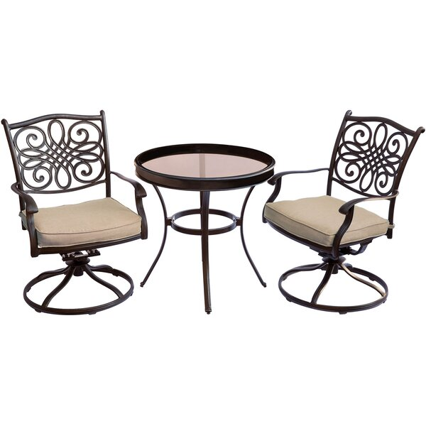 Carleton 3 Piece Bistro Set with Cushions by Fleur De Lis Living