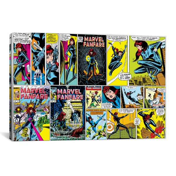 Marvel Comics Black Widow Colored Cover and Panel Graphic Art on Wrapped Canvas by iCanvas