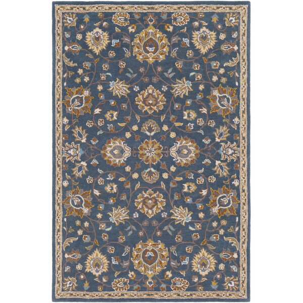 Browns Hand Tufted Wool Teal/Beige Area Rug by Charlton Home