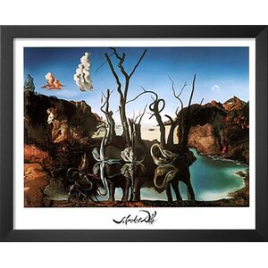 'Swans Reflecting Elephants White Border' by Salvador Dali Framed Graphic Art by Buy Art For Less