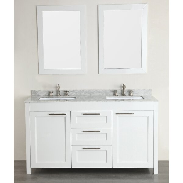 60 Double Bathroom Vanity Set with Mirror by Bosconi