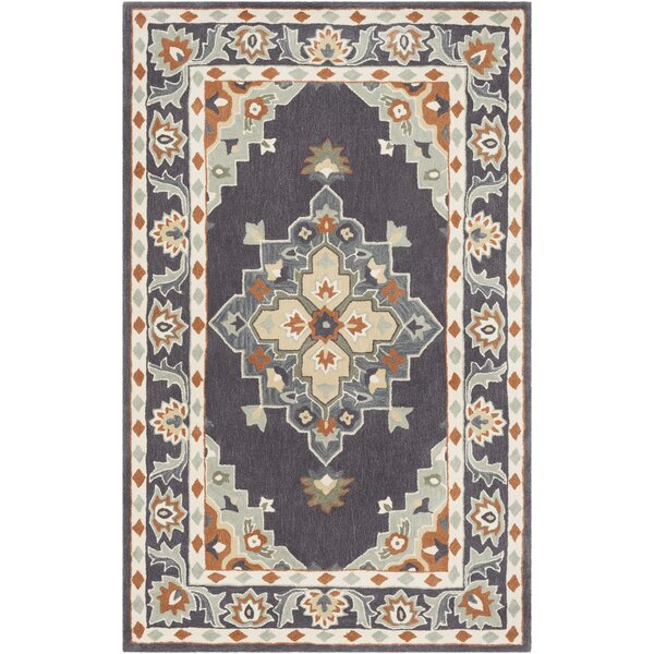 Pettitt Hand-Tufted Eggplant/Baby Blue Area Rug by Bloomsbury Market
