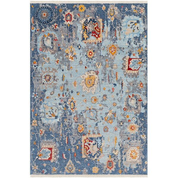 Elvis Distressed Vintage Blue Area Rug by Charlton Home