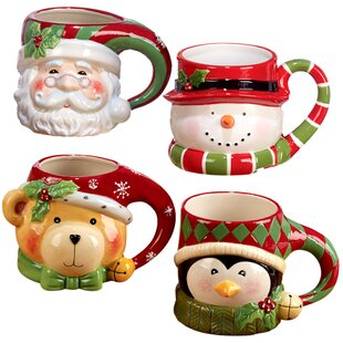 3d holiday coffee mug set of 4 - Cheap Christmas Mugs
