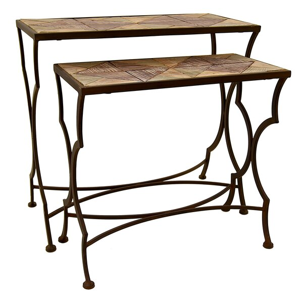 Faulk Metal and Wood 2 Piece Nesting Tables by Bloomsbury Market