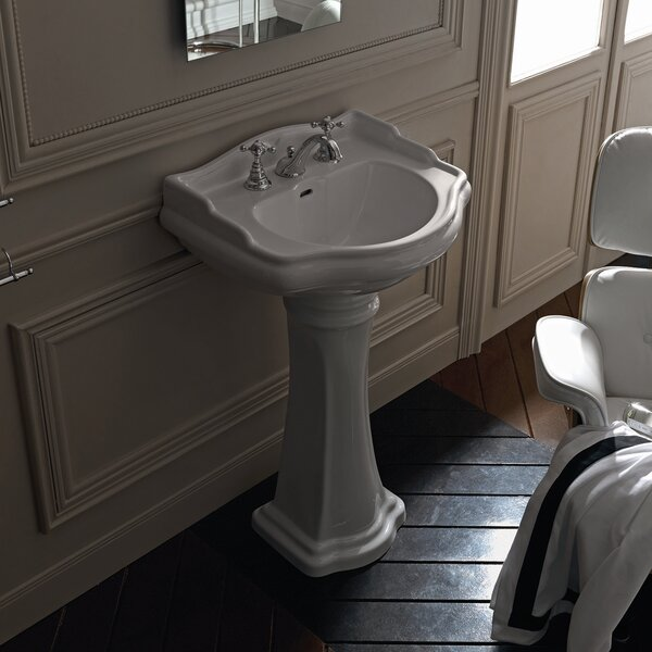 Retro Ceramic 29 Pedestal Bathroom Sink with Overflow by WS Bath Collections