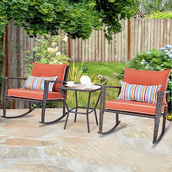 Edip Rattan Deck Couch Outdoor Patio Sofa Seating Group with Cushions by Latitude Run
