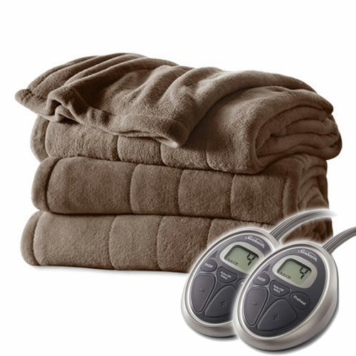 Channeled Velvet Plush Electric Heated Blanket by Bell + Howell