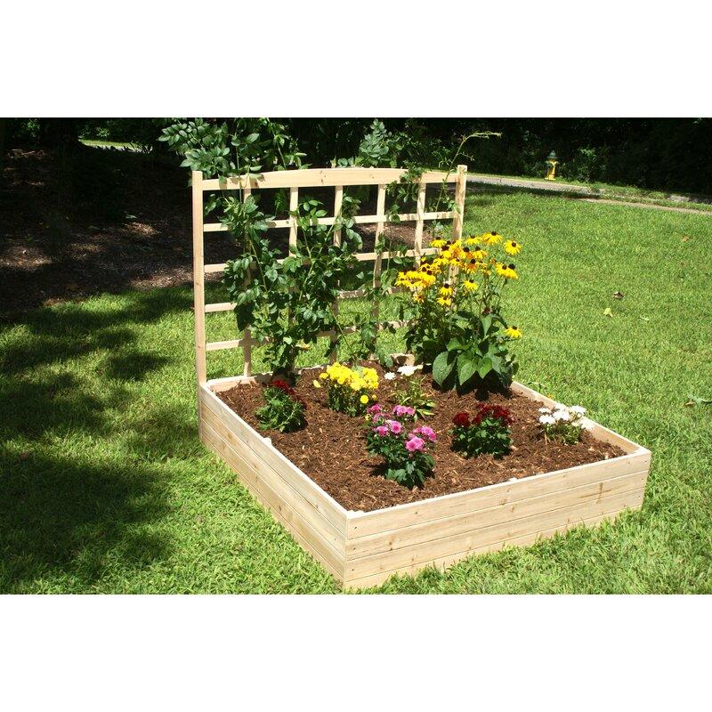 Ordinaire Konkol 4 Ft X 4 Ft Wood Raised Garden With Trellis