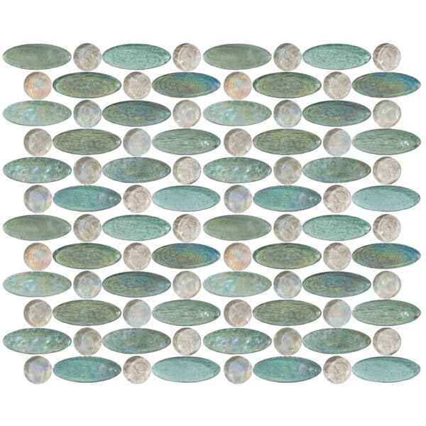 Signature Line Iridescent 1 x 3 Glass Mosaic Tile in Green/Gray by Susan Jablon