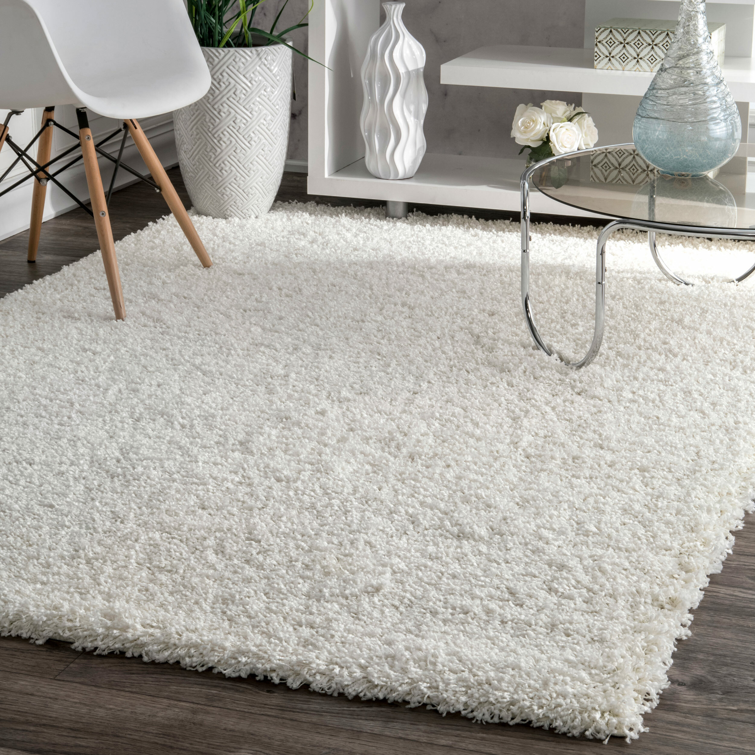 Welford White Shag Area Rug Reviews