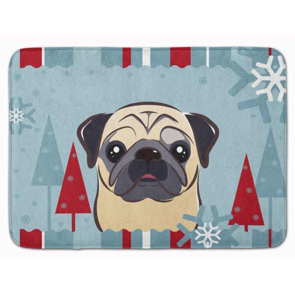 Winter Holiday Fawn Pug Memory Foam Bath Rug
