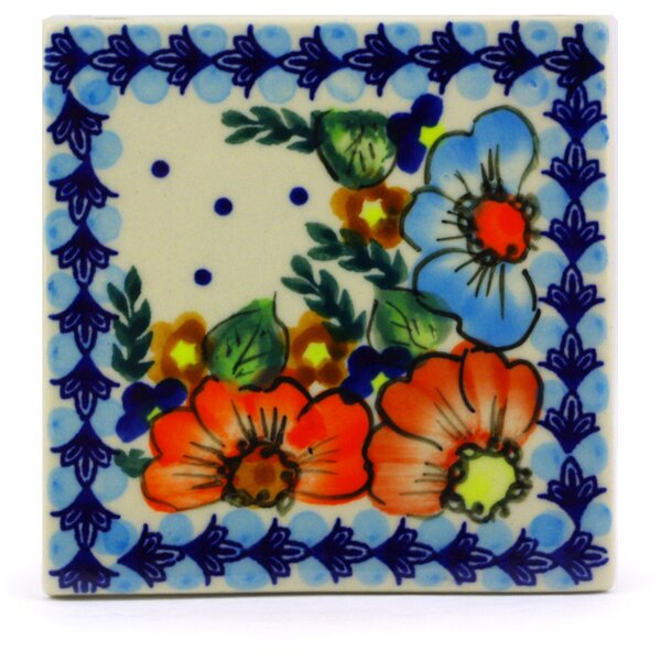 Butterfly Splendor 4.37 x 4.37 Ceramic Polish Pottery Decorative Accent Tile by Polmedia