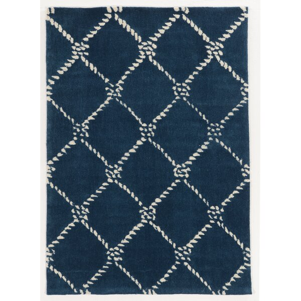 Stephany Rope Hand-Tufted Ivory/Navy Area Rug by Breakwater Bay