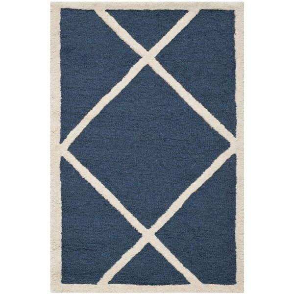 Martins Navy / Ivory Area Rug by Wrought Studio