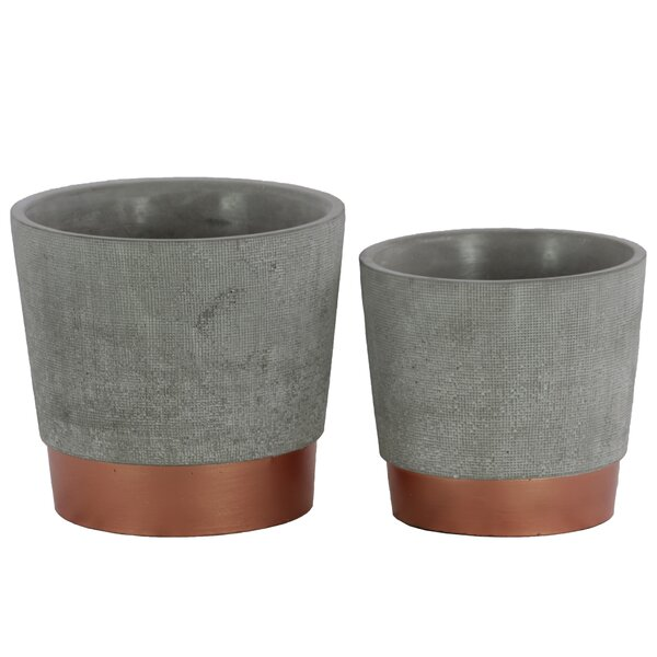 Round 2-Piece Cement Pot Planter Set by Urban Trends