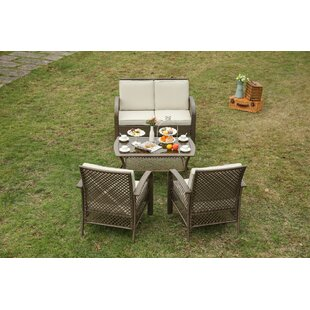 Hobson 4 Piece Wicker Patio Conversation Set With Cushions