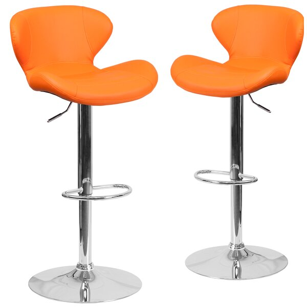 Guajardo Adjustable Height Swivel Bar Stool (Set of 2) by Orren Ellis