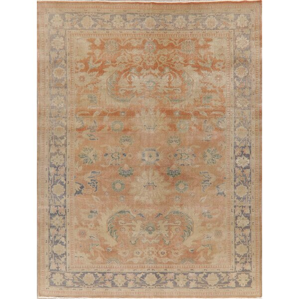 One-of-a-Kind Sipos Hand-Knotted Oushak Beige 7'10 x 10'7 Wool Area Rug