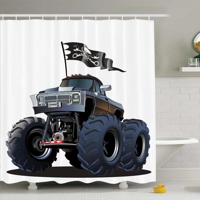 charming Pirate Shower Curtain Part - 15: Myaa Monster Truck Pirate Shower Curtain Set