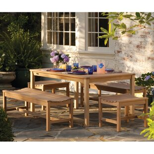 Harpersfield 5 Piece Shorea Wood Dining Set By Beachcrest Home
