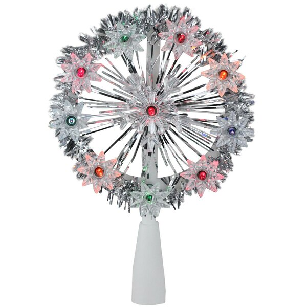 Tinsel Snowflake Starburst Christmas 10 Light Tree Topper by The Holiday Aisle