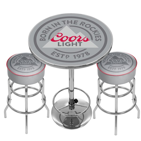 Coors Light Game Room Combo 3 Piece Pub Table Set by Trademark Global