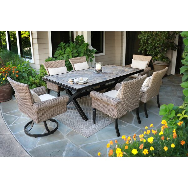 Pacific Shoreline 7 Piece Dining Set with Sunbrella Cushions by Bayou Breeze