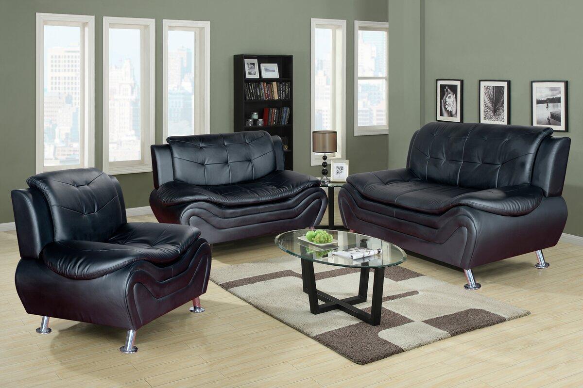 3 piece living room furniture set. Algarve 3 Piece Leather Living Room Set Latitude Run  Reviews
