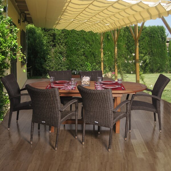 Lafe International Home Outdoor 7 Piece Dining Set by Bay Isle Home