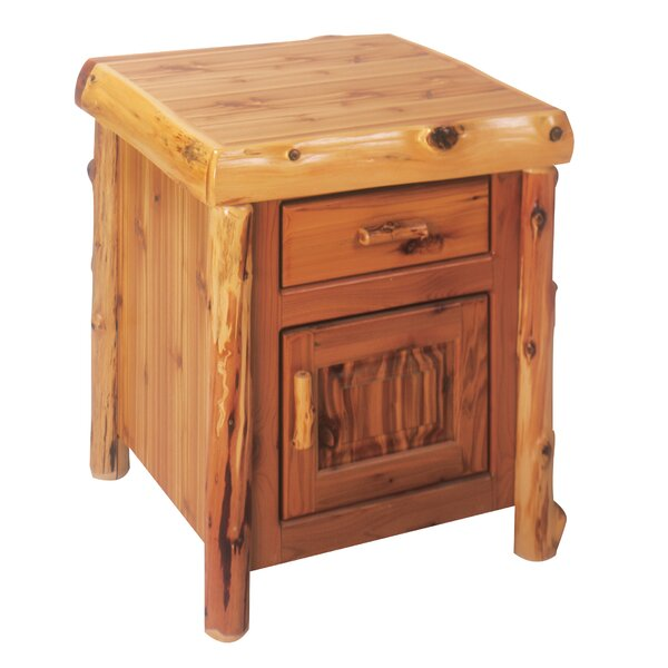 Cedar End Table With Storage By Fireside Lodge