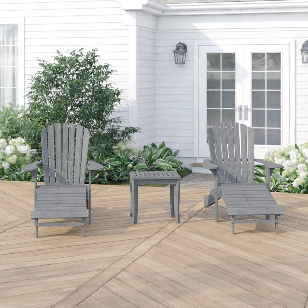 Rex Solid Wood Adirondack Chair (Set of 2) with Ottoman by Beachcrest Home Beachcrest Home