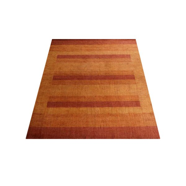 Ry Hand-Knotted Wool Orange Area Rug by Latitude Run