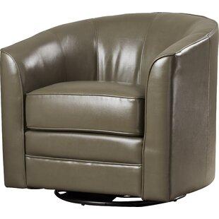 Superieur Grey Leather Swivel Chair | Wayfair