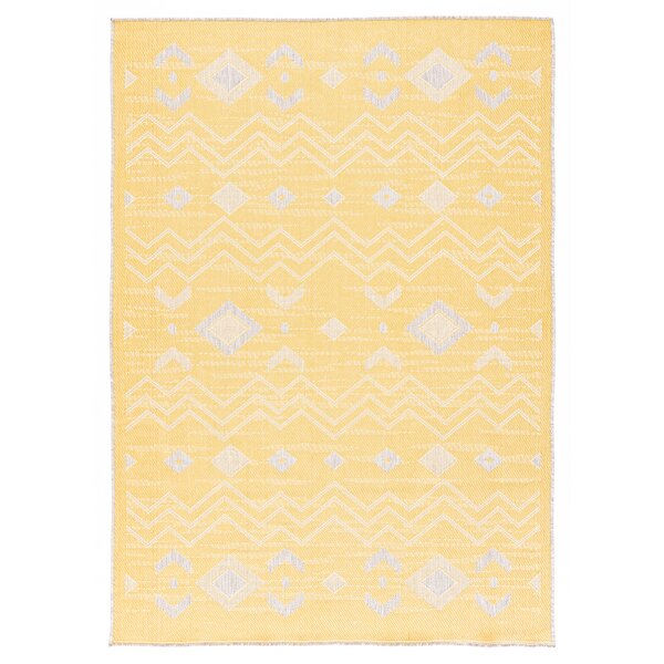 Tseng Reversible Yellow/Gray Indoor/Outdoor Area Rug by Millwood Pines