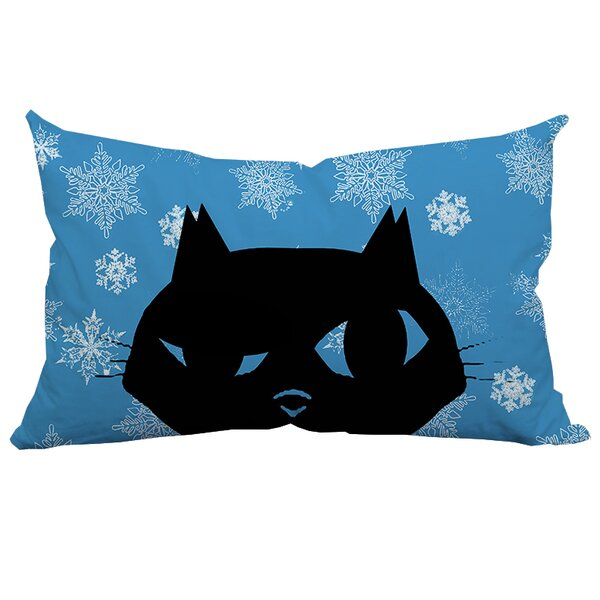 Holiday Treasures Sly Christmas Cat Polyester Lumbar Pillow by Positively Home