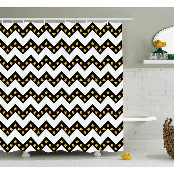 Maryann Chevron Black Zig Zag Pattern With Inner Stars Parallel Striped Trendy Lines Artful Print Shower Curtain by Ebern Designs