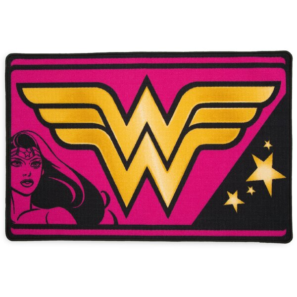 DC Comics Wonder Woman Soft Pink/Yellow Area Rug by Delta Children