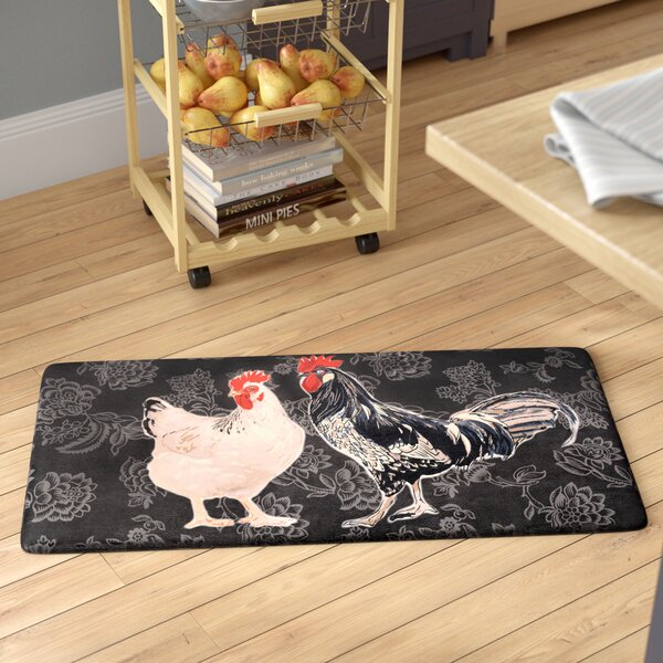 Cathie Black Rooster Kitchen Mat