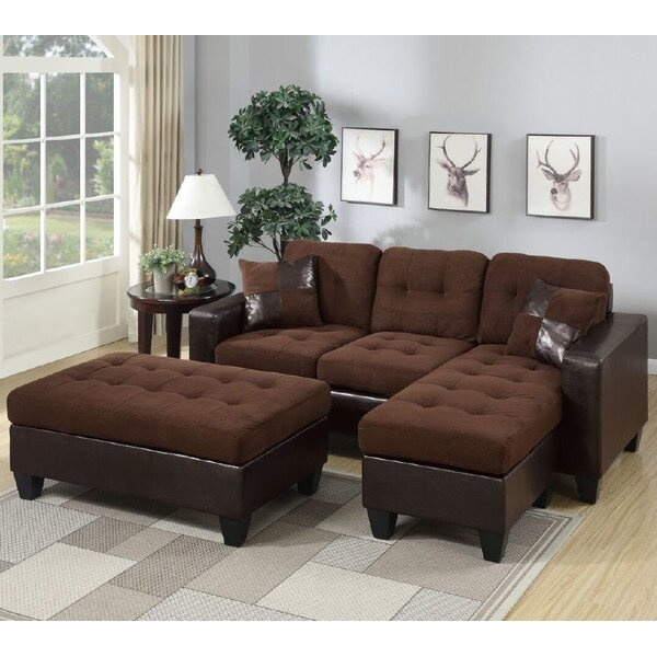 Top Brand Glosco Reversible Sectional by Latitude Run by Latitude Run