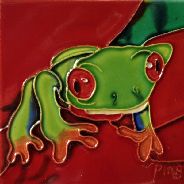 Frog on A Red Leaf Tile Wall Decor by Continental Art Center
